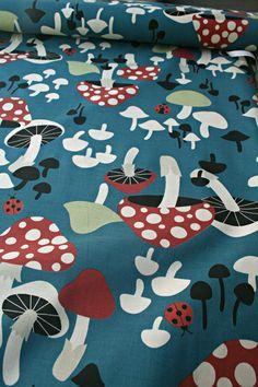 Japanese Trefle Kokka Mushroom Fabric   1 by startstitching1045, $20.00