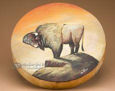 "Hand Painted Tarahumara Drum 16"""" -Buffalo (pd43)"