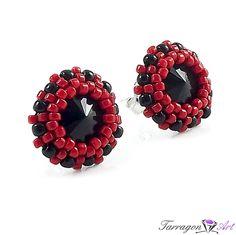 Kolczyki Beaded Swarovski Elements - Jet & Cherry Studs - Beaded / Kolczyki - Tarragon Art - stylowa biżuteria artystyczna