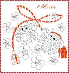 Nicole's Free Coloring Pages: 1 Martie Martisor * Coloring greeting card Wedding Coloring Pages, Free Coloring Pages, Butterfly Wallpaper, Butterfly Art, 8 Martie, Santa Letter, Red Berries, Egg Hunt, 1st Birthday Parties