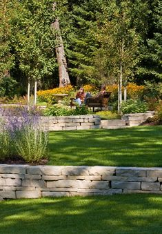 Backyard retaining wall....would love to do this back there.  One day. :)