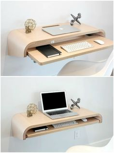 12 floating desks that look great and take up minimal space - Space-saving desk that mounts easily to any wall to create a multi-use desk or display shelf. Perfect as a laptop station, full desktop station or writing desk Home Room Design, Home Office Design, Home Office Decor, Home Interior Design, Interior Decorating, Tiny Bedroom Design, Study Room Design, Study Space, Office Ideas