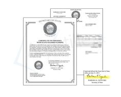 State of Nevada Survival Certificate signed by a Public