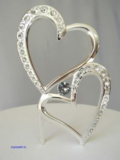 Silver Crystal Rhinestone Double Hearts Wedding Engagement Cake Topper Metal | eBay