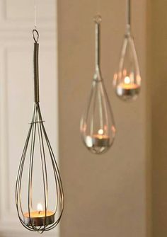 Upcycle Home Idea- Use Whisks to create haning tea light baskets!