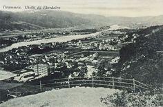 Drammen på 1950'tallet. Utsikt mot Ekerdalen.