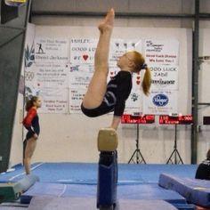 B level skill on beam. Ashtyn @ gymnastics meet 2009.
