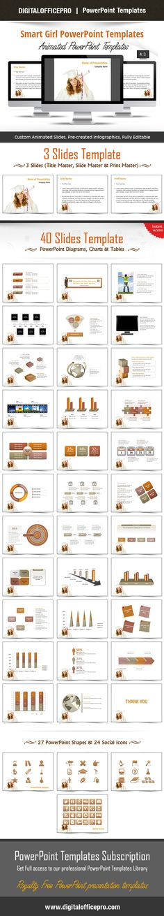 Impress and Engage your audience with Smart Girl PowerPoint Template and Smart Girl PowerPoint Backgrounds from DigitalOfficePro. Each template comes with a set of PowerPoint Diagrams, Charts & Shapes and are available for instant download.