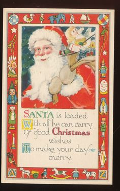 Santa Claus with Dolls & Toy Border ~vintage Christmas Post Card  -ppp179 #Christmas