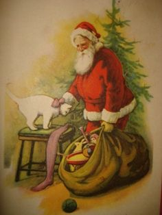 Vintage Old Holiday Christmas Art Deco Postcard Santa Brown Toy Bag White Cat | eBay