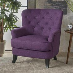 Anikki Tufted Fabric Club Chair von Christopher Knight Home (Holzkohle (Grau)) Source by overstock Living Room Chairs, Living Room Furniture, Living Rooms, Apartment Living, Purple Chair, Purple Fabric, Tufted Chair, Chair Upholstery, Club Chairs