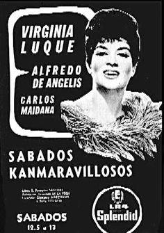 Publicidad de actuación de la cantante VIRGINIA LUQUE. Radio SPLENDID, Buenos…