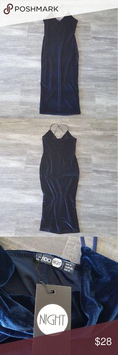 Navy Velvet Lush Long Midi NWT Boohoo Dresses Midi