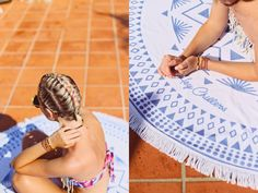 Serviette ronde HeyChillers www.heychillers.com // Blog @Cecile Na // photo Gaelle Simon // #servietteronde #roundtowel #roundie #roundies #serviette #piscine #cotedazur