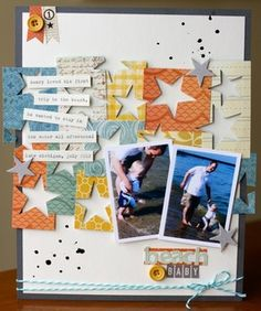 """Scrapbook page """"beach baby"""" by justem at Studio Calico. Love the punches and the way they're used."""
