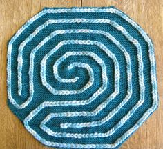 "This is a chart only pattern for a finger labyrinth in a double spiral (or Baltic style) design. It is worked as an eyelet pattern on a garter stitch ground and is a very easy pattern if you can ""read"" your work. Free Knitting, Knitting Patterns, Crochet Patterns, Crochet Ideas, Crochet Crafts, Yarn Crafts, Love Crochet, Knit Crochet, Labyrinth Maze"