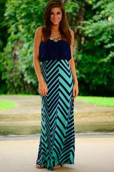 Split Chevron Maxi Dress