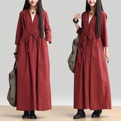 Sleeve dress long coat female temperament fold cotton by Focus2013, $99.00