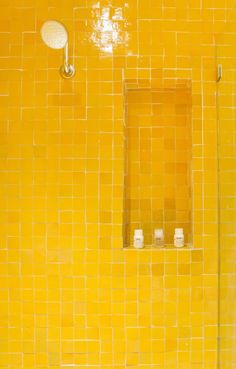 Yellow Aesthetic Pastel, Yellow Tile, Shower Niche, Dog Shower, Mellow Yellow, Bright Yellow, Yellow Bathrooms, Shades Of Yellow, Color Tile