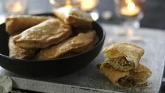 Ghoogra: sweet pastries, filled with coconut and sweetened semolina.
