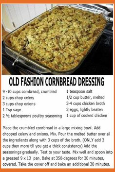 Southern Turkey Side Dishes – Old Fashioned Southern Cornbread Dressing Recipe.Southern Turkey Side Dishes – Old Fashioned Southern Cornbread Dressing Recipe for a Crowd Southern turkey side dishes: my family's old fashioned Southern cornbread Turkey Side Dishes, Easter Side Dishes, Dinner Side Dishes, Side Dishes Easy, Side Dish Recipes, Side Turkey, Main Dishes, Paula Deen, Old Fashioned Cornbread Dressing