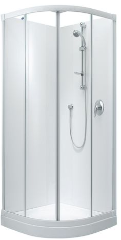 Englefield Sapphire Round Sliding Shower Round front shower, white and chrome frame option, different sizing options, includes tray and liner. http://www.plumbin.co.nz/shop/showers/sapphire_round.html