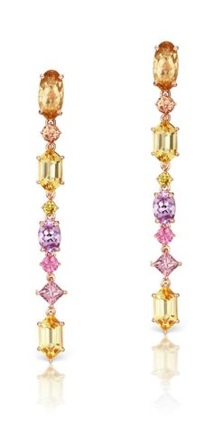Jane Taylor jewelry's Cirque Aerial Silk earrings in 18K rose gold, with precious topaz, orange sapphire, yellow beryl, yellow diamonds, and pink sapphire.