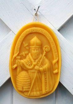 Saint Ambrosius, the Patron Saint of Beekeepers, Cast in Beeswax #beekeeper