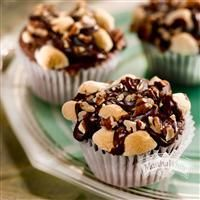 Chocolate Chips, marshmallows, pecans and hot fduge make these Mississippi Mud Muffins from Martha White® irresistible!
