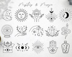 Cute Tiny Tattoos, Mini Tattoos, Small Tattoos, Unique Tattoos, Flash Art Tattoos, Mystic Symbols, Illustration Tattoo, Poke Tattoo, Thin Tattoo