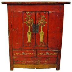 Antique Red Chinese Tall Cabinet, Gansu Province, circa 1880 | From a unique collection of antique and modern furniture at https://www.1stdibs.com/furniture/asian-art-furniture/furniture/