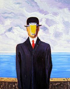 Beer Oil Painting, Parody of The Son of Man by René Magritte, Beer Pint Print, Gift for Husband, Bar Art, Gift for Beer Brewer, Man Cave Art