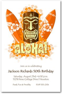Aloha Tiki Mask Party Invitations, Luau Invitations