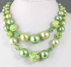 Vintage 50's Multi 2 Strand Green Crystal Glass & Faux Pearl Bead Necklace Japan #Necklace
