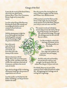 Book of Shadows:  Charge of the God.