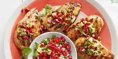 Sweet cherries are just incredible right now. Toss them with some chopped avocado, cilantro, lime and jalapeno to make a delectable salsa for this tasty grilled chicken.
