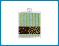 Brown and Teal Stripe Pattern Bridesmaids Gifts - Stainless Steel 8 oz Liquor Hip Flasks or 15oz Coffee Mug - Flask #187 - Bridesmaid gifts (*Amazon Partner-Link)