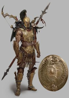 Men in fantasy art Fantasy Warrior, Fantasy Male, Fantasy World, Greek Warrior, Dnd Characters, Fantasy Characters, Armor Concept, Concept Art, Game Character