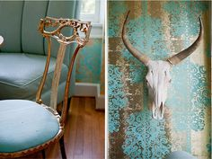 www.atmospherehomeessentials.com - bmetro magazine : homes - graham yelton creative  dining room, rustic glam, cow head, italian gold chairs, wallpaper