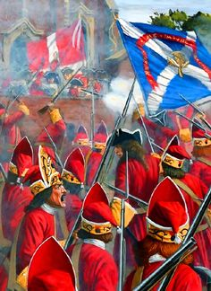British grenadiers charging at the French defending the churchyard of Blenheim, Battle of Blenheim, War of the Spanish Succession