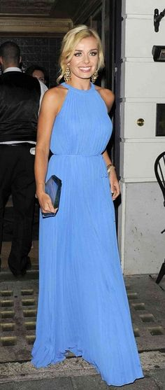 Who made Katherine Jenkins's blue pleated maxi dress that she wore in London? Dress – Ted Baker