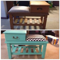 Retro telephone table. Before and after.