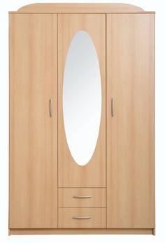 Wardrobe - Kaja 3D Impact Furniture Shop UK - Three door wardrobe with big mirror insert.