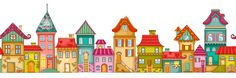 A row of houses png picture, A Row, Houses, Color PNG Image Map Symbols, Crooked House, Arte Country, 3rd Grade Art, Doodle Art Journals, House Quilts, House Drawing, Stained Glass Designs, Preschool Art