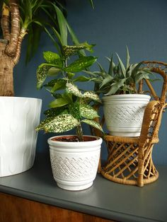West Germany set two fat lava planters flowerpots white planter flowerpot wavy zigzag lines relief Scandinavian midcentury modern farmhouse