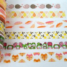 Washi tape in fall colors - 24 inches of hedgehogs, leaves, feathers, foxes, cactus people, flower washi - Lora Bailora washi by WashiYouDoing on Etsy