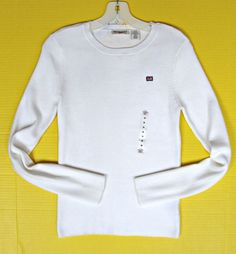 Womens Polo Ralph Lauren White Ribbed Knit Pullover Sweater Top M 8 10 12 Flag #PoloJeansCoRalphLauren #PulloverSweater