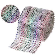 """5Yards(15ft) x 4.5"""" Rainbow Color Dimond Mesh Crystal Sewing Rhinestone Ribbon Trim for Wedding Party Decorations DIY Gift Wrap on Aliexpress.com   Alibaba Group"""