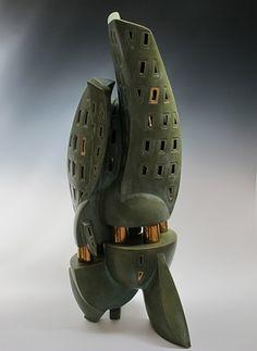 Zuccotti.  Slab built Stoneware, Porcelain, Gold Luster.  Dan Molyneux. 2012.
