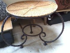 Side table with rope base by UniquelyAttainable on Etsy, $60.00